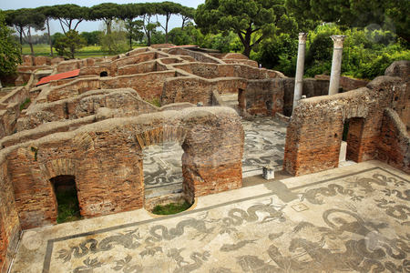 Ancient Roman Baths of Neptune Mosaic Floors Ostia Antica Rome I