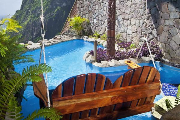 Caribbean; St.Lucia Ladera Resort wine cellar detail